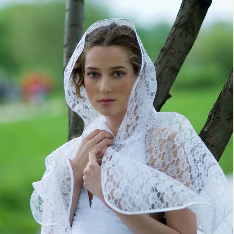 Пелерина венчальная, накидка с капюшоном