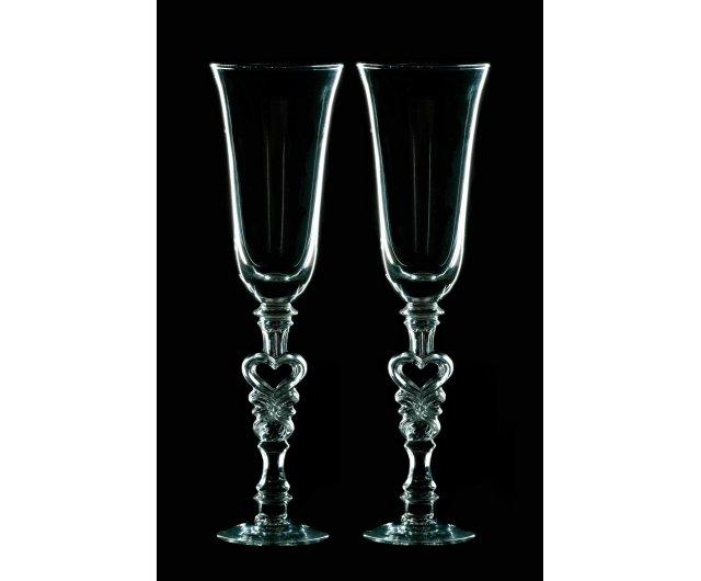 Г8 Свадебные бокалы для декора - Сердечко в ножке
