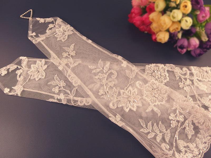Свадебные митенки №4 - 40см, вышивка расшитая бисером и стеклярусом