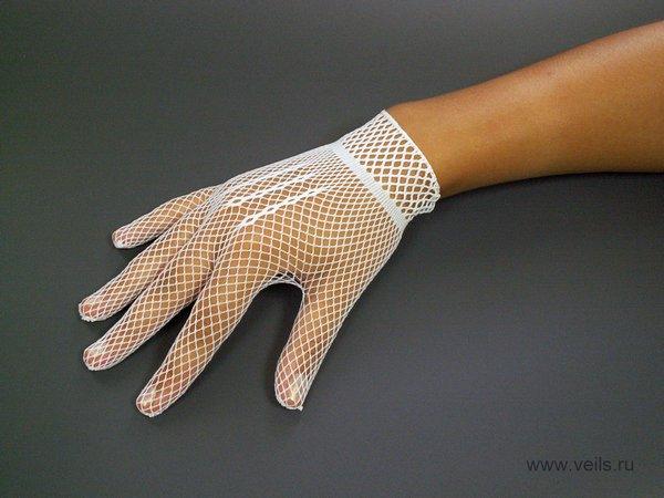 Перчатки №1 белые, сеточка