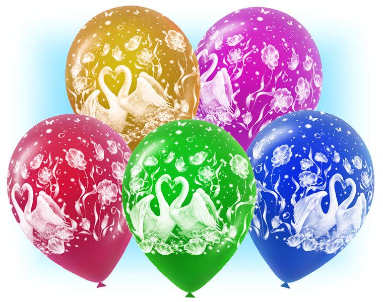 Набор свадебных шаров АА134, Свадьба - лебеди, 10шт.
