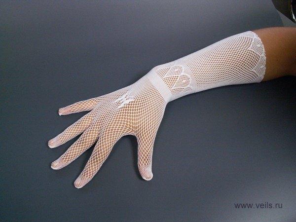 Перчатки №2 белые, сеточка