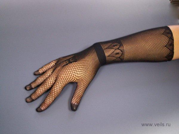 Перчатки №2 черные, сеточка