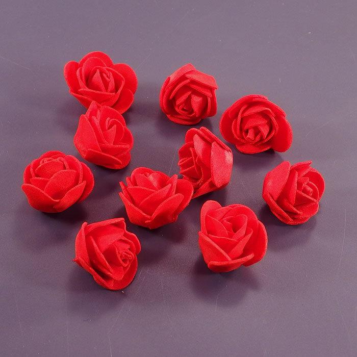 Головы роз 30мм красные, 10шт