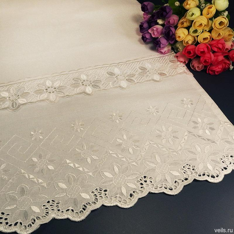 Белый венчальный рушник В-004, 42*200см