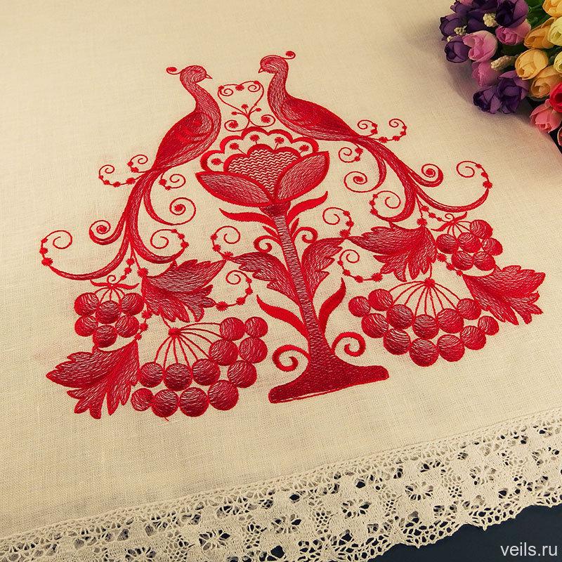 Свадебный хлебосольный рушник R102 - Павлины