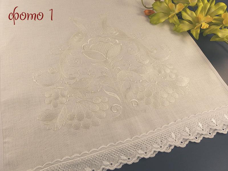 Белый венчальный рушник R102 - Павлины
