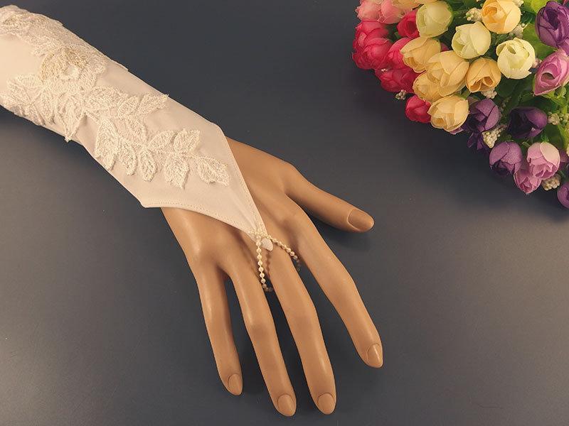 Митенки свадебные №4 кремовые с кордовой аппликацией