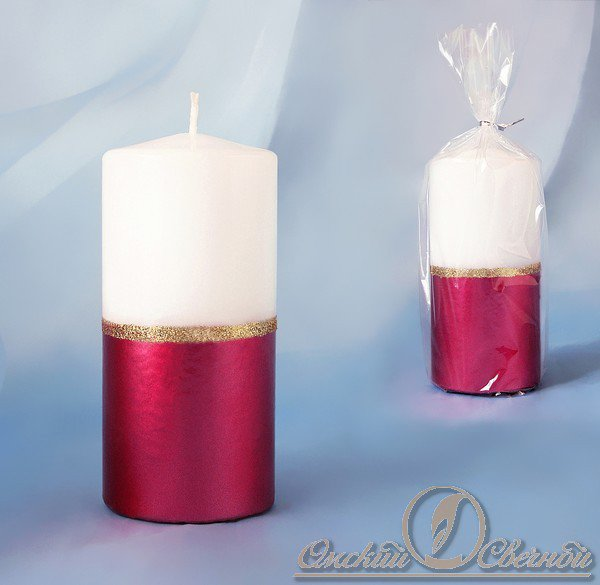 3924 Свеча пенек рубиново-белый