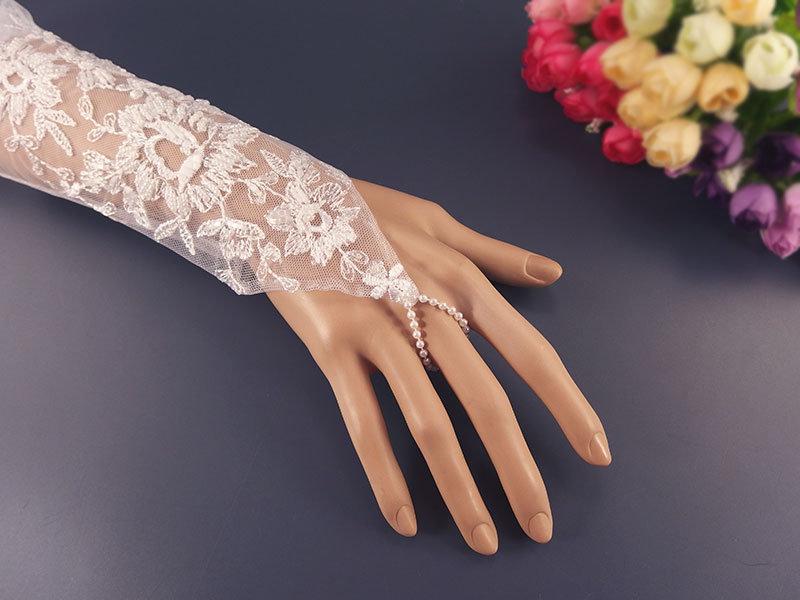 Митенки свадебные №3, вышивка на сетке