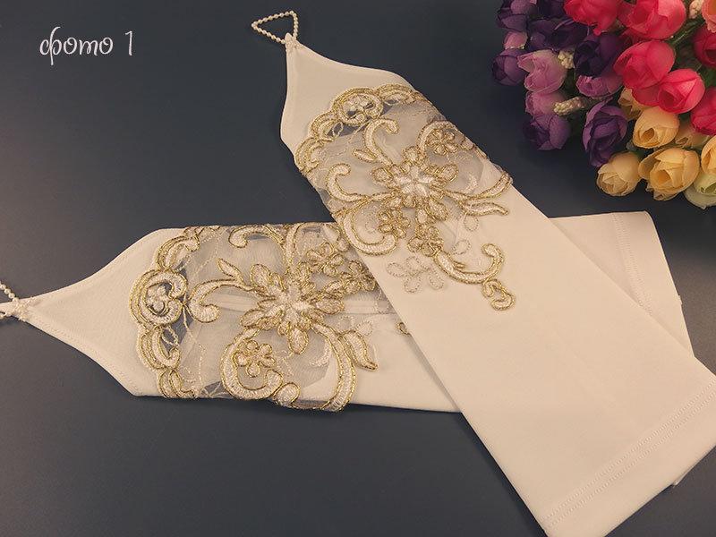 Свадебные митенки №3 29см, белые с кордовым кружевом