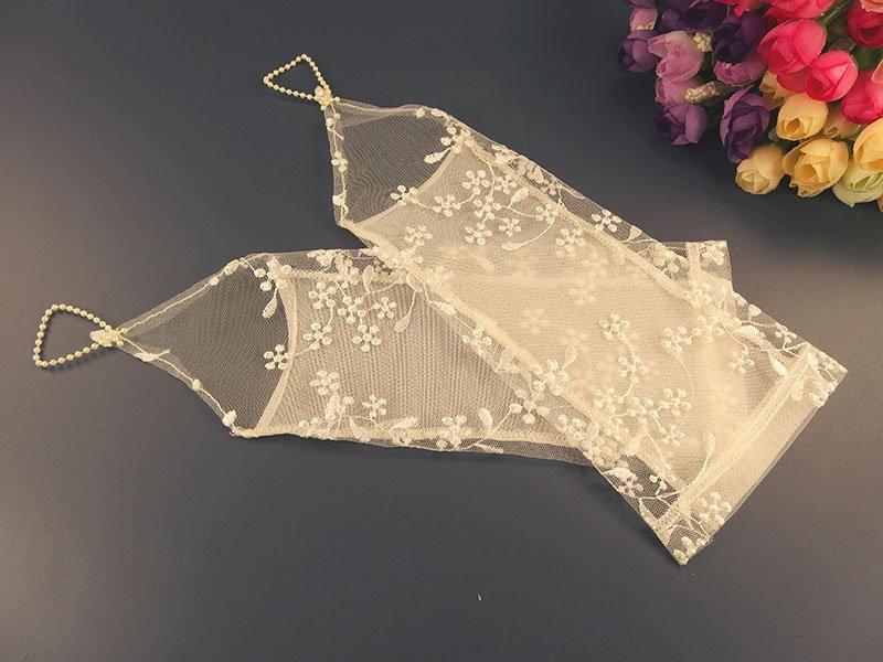 Свадебные митенки 25см, молочные сетка с вышивкой