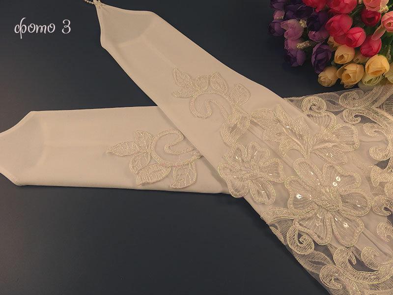 Свадебные митенки №4 38см, белые с аппликацией перламутр