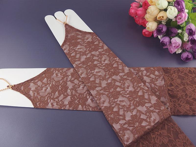 Митенки кружевные цвет шоколадный 38см