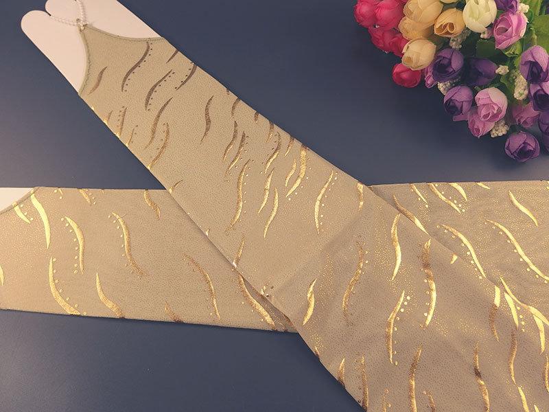 Митенки фисташкового цвета с золотом 44см