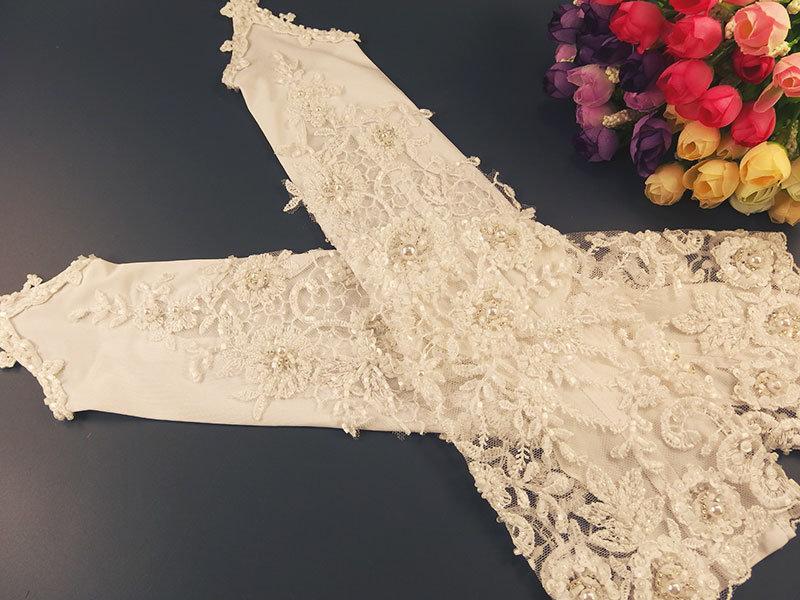 Свадебные митенки №4 38см, расшитые