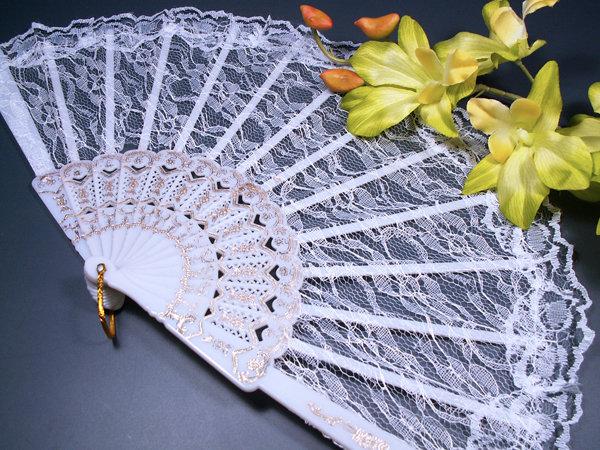 Свадебный веер кружевной, основа - пластик