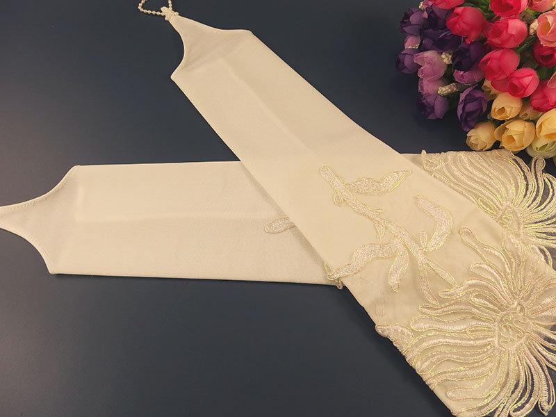 Свадебные митенки 38см молочные кружево перламутр