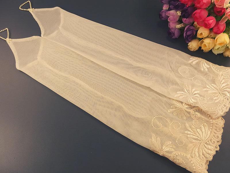 Свадебные митенки 38см, с вышивкой по верху, цвет капучино