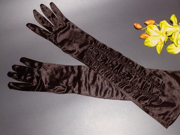 Перчатки №4 черные, блеск с драпировкой