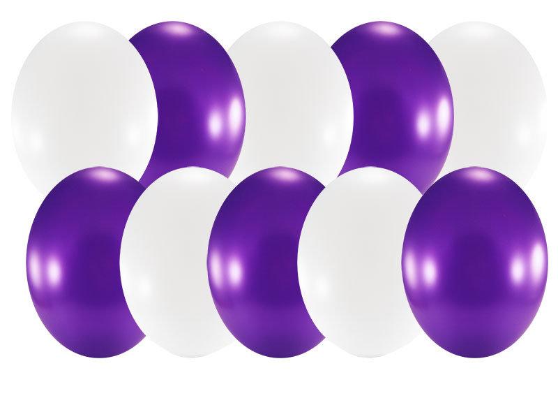 Набор свадебный, 10 шаров 30см, фиолет с белым