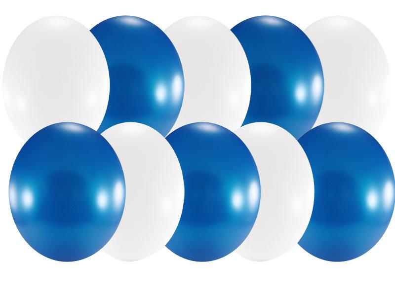 Набор свадебный, 10 шаров 30см, синий с белым